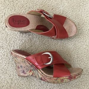 "BOC red floral cork 4"" wedge sandals - womens 9"